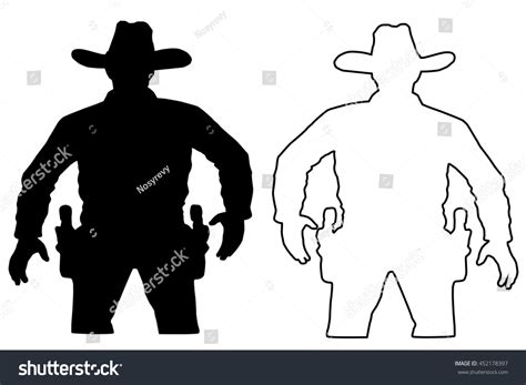 printable cowboy targets set cowboy duel target vector insulated stock vector
