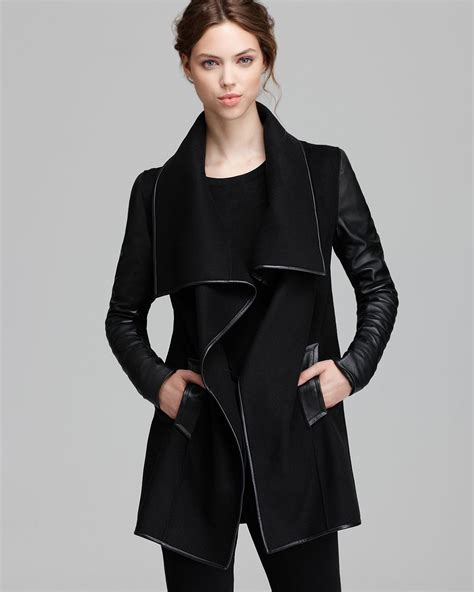 Mackage Coat Adele Draped Wrap In Black Lyst