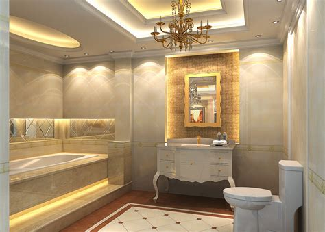 Bathroom suspended ceiling and bathtub design Interior Design