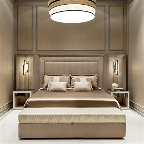 Luxury italian designer upholstered bed with extended headboard juliettes interiors