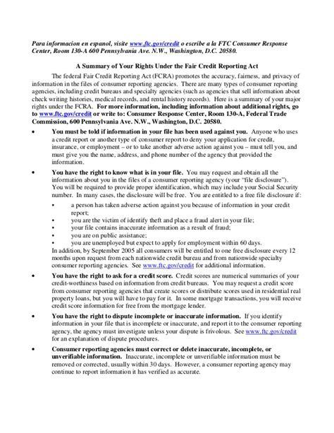 Credit Dispute Letter Fair Credit Reporting Act fair credit report act
