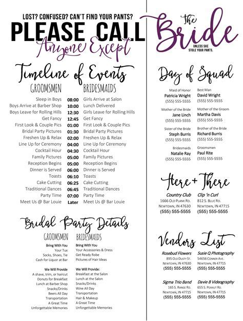 Wedding Schedule Template   Purple   Timeline of Events