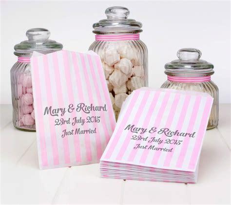 Sweet Wedding Paper Bag personalised light pink stripe paper sweet bags wedding