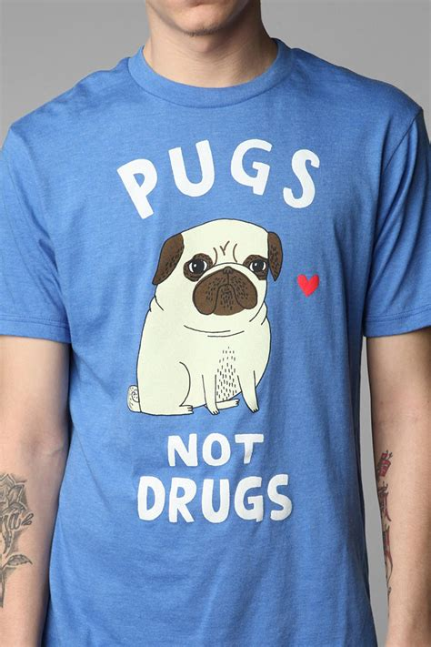 pugs not drugs sweater outfitters gemma correll pugs not drugs in blue for lyst
