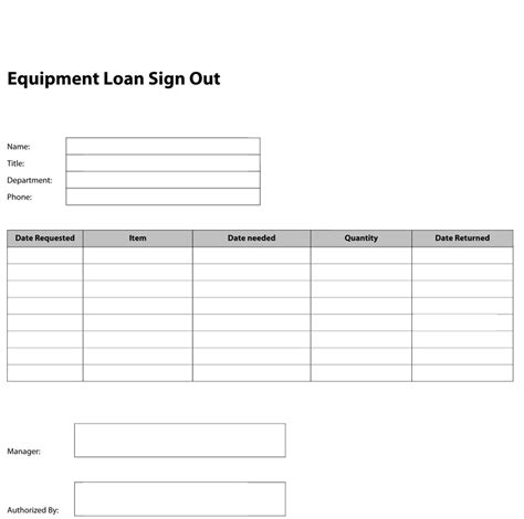 Equipment Sign Out Sheet Template by Pdf Templates Construction Templates