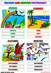 printable seasons poster esl kindergarten weather worksheets worksheets on