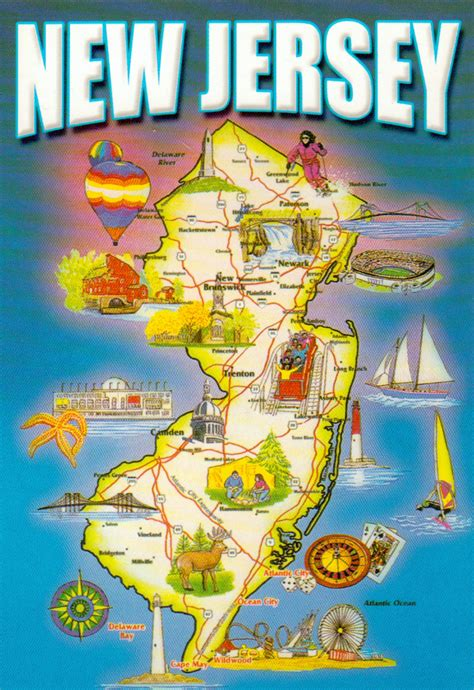 new jersey on a map of the usa detailed tourist map of new jersey state new jersey