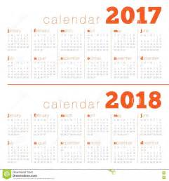 Simple Calendar Template by Simple Calendar Template For 2017 And 2018 Stock Vector