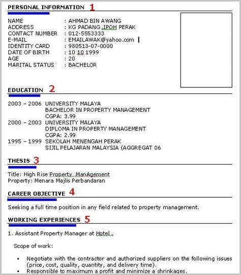 format resume bahasa malaysia barli ais cara buat resume memohon kerja