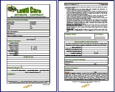 Free Printable Lawn Care Contract Form Generic Lawn Service Estimate Template