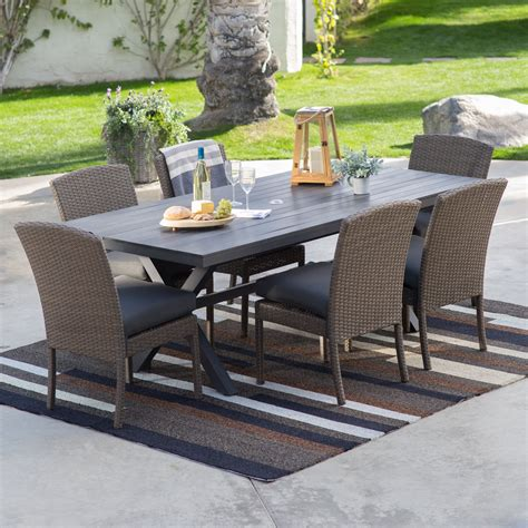 patio furniture set belham living ashera all weather wicker patio dining set patio dining sets at hayneedle