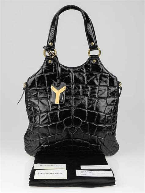 Yves Laurent Tribute Patent Bag by Yves Laurent Black Croc Embossed Patent Leather