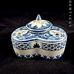 blue and white desk accessories blue and white faience inkwell handpainted inkwells