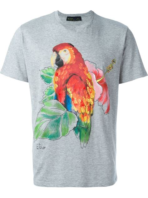 Parrot T Shirt lyst etro parrot print t shirt in gray for