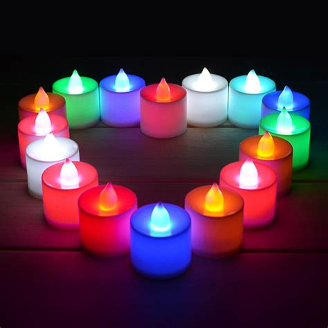 colorful candles romatic flameless colorful led candle light wedding