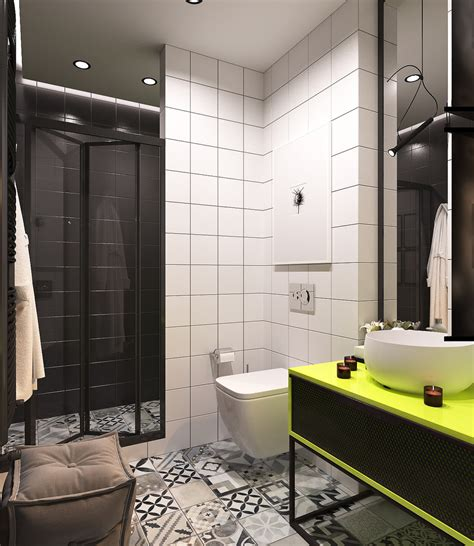 lime green bathroom a pair of small apartments with dazzling neon accents
