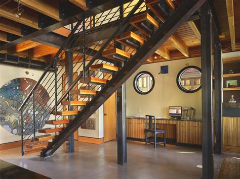 Industrial Stairs Design Stair To Second Level Study In The Background Industrial Staircase Seattle By Dan