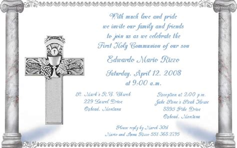 communion card templates free holy communion invitations template best template collection