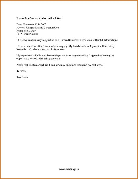 10 how to write a 2 weeks notice exle lease template