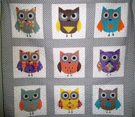 Owl Patchwork Patterns - baby owl quilt baby quilt owl quilt owls gray quilt