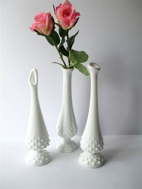 vintage white hobnail milk glass l vintage fenton milk glass hobnail bud vase collection of