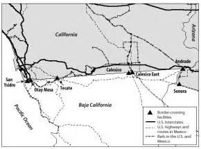 map 2 border crossing facilities between california and