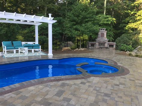 patio greenwich east greenwich fiberglass pool patio fireplace and pergola elvio and sons