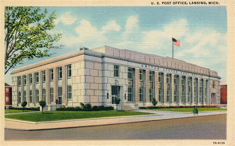 lansing michigan post office post card