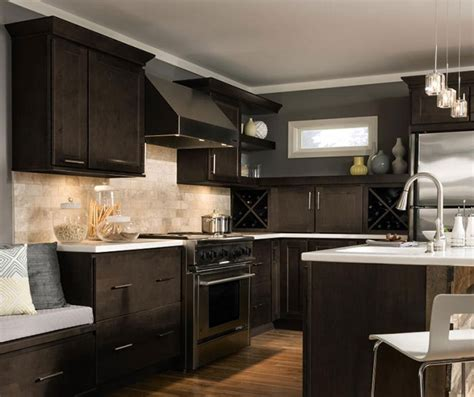 Dark Maple Kitchen Cabinets by Verano Flat Panel Cabinet Doors Homecrest Cabinetry
