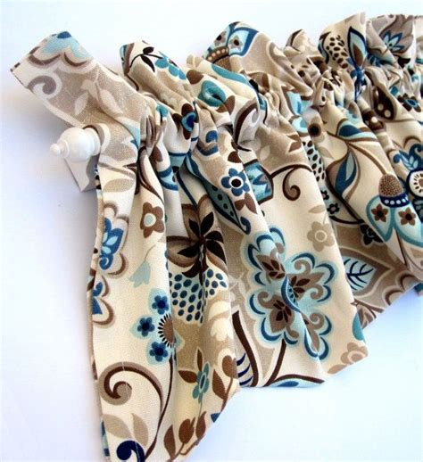 Teal And Brown Curtains Valley Valance Curtains Brown Blue Teal Flowers Leaves 53 Inches Wide On Etsy 28 00