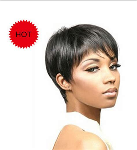 hairstyle with wigs with bangs for african women pixie cut hairstyle synthetic wigs short hair straight