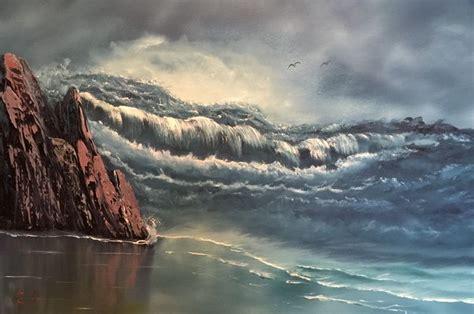 bob ross painting the sea raging sea everett boyer bob ross style paintings