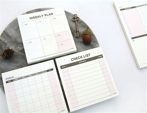 Weekly Plan Sticky Memo Pad Stick It Memo Limited desk moth weekly check list sticky notes memo pad planner pocket memo pad program notes scratch