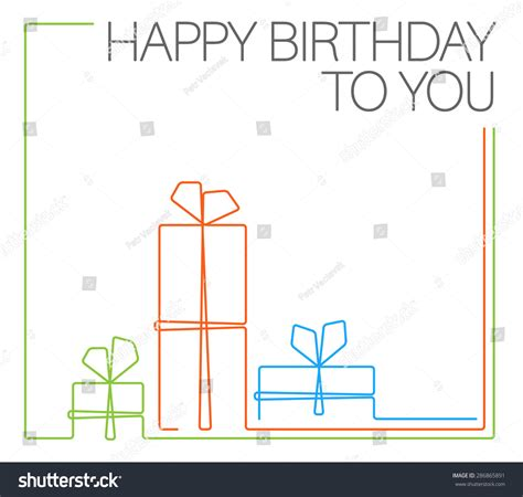 queue cards template vector minimalist birthday card template continuous stock