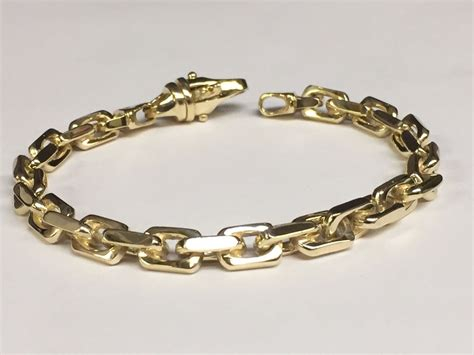 Handmade Chain Bracelets - 14k solid yellow gold handmade link s chain bracelet 9