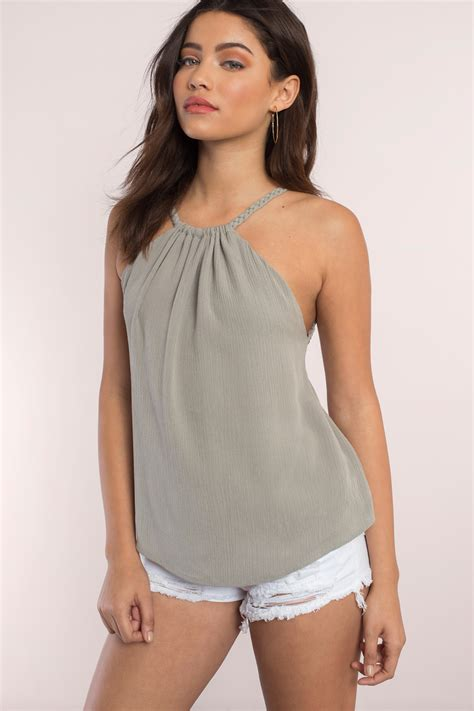 Tank Tops white tank top back tie top white top 48 00