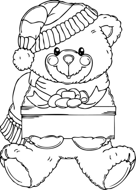 coloring pages christmas bear christmas teddy bear coloring pages designcorner