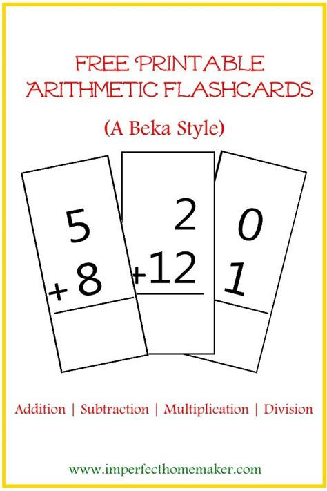 printable flashcards for addition and subtraction free printable arithmetic flashcards