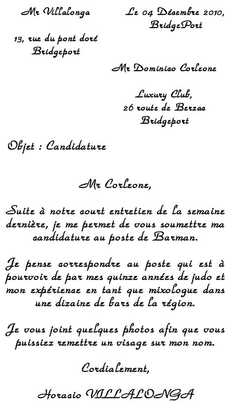Exemple Lettre De Motivation Lycée Privé Exemple De Demande D Emploi Barman Employment Application