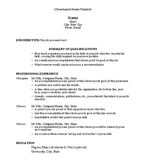 resume chronological template 50 free microsoft word resume templates for