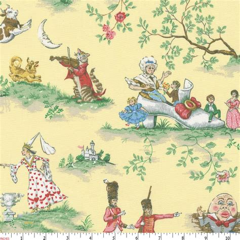 yellow nursery rhyme toile fabric by the yard yellow