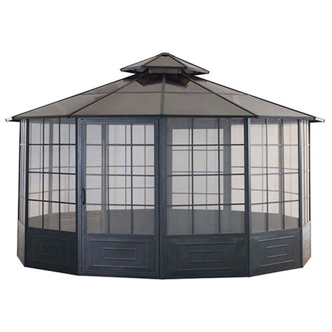 screen house gazebo hton bay 10 ft x 10 ft solar led lighted gazebo