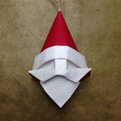 Easy Origami Ornaments - origami santa ornament