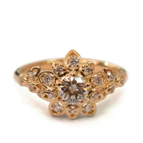 deco petal engagement ring 18k gold and