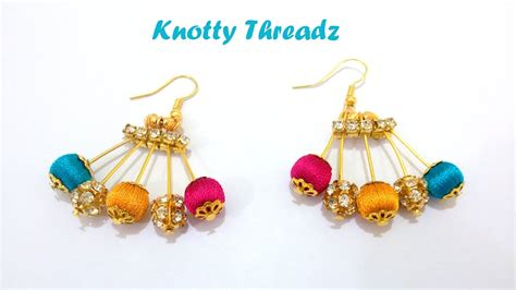 diy how to make designer silk thread earrings using
