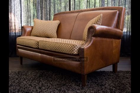 leather sofa with fabric seat cushions english notary sofa in thick antique sheep leather with