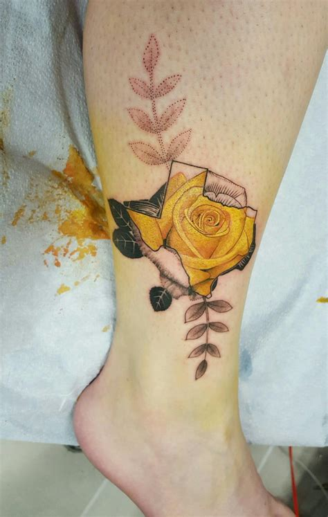 texas rose tattoo yellow of moon studio tx
