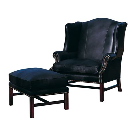 Inexpensive Chair And Ottoman Classic Leather 242 42 Benson Wing Chair And One Half