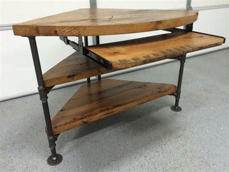 corner desk table reclaimed wood corner table desk solid oak w black iron pipe