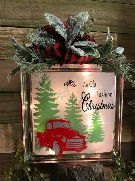 fashion christmas lighted glass block holiday lights red truck decoration red truck